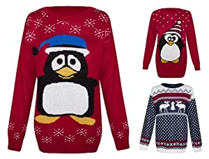 Womens Knitted Snowman Reindeer Penguin Christmas Novelty Santa Jumper Sweater