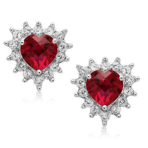 Sterling Silver Heart Created Ruby and Round Created White Sapphire Earrings