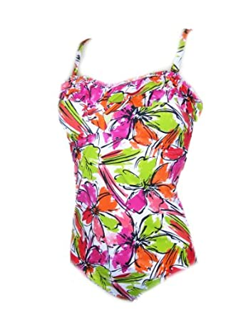 Womens Anne Cole One Piece Ruffle Swimsuit Swimwear Lime/orange/pink Size 8-18: Clothing