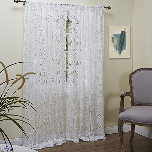"""Lightinthebox (One Panel Rod Pocket)Elegant Beautiful Knitted Flowers Allover Lace Sheer Window Curtains Panels (50W×84""""L) front-897270"""