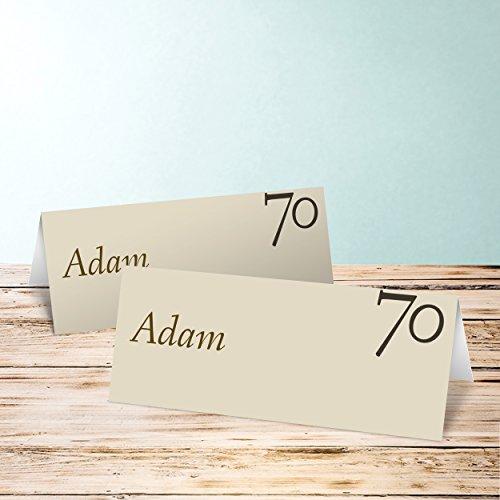 platzkarten geburtstag meine siebzig 10 karten horizontale klappkarte 100x38 braun. Black Bedroom Furniture Sets. Home Design Ideas