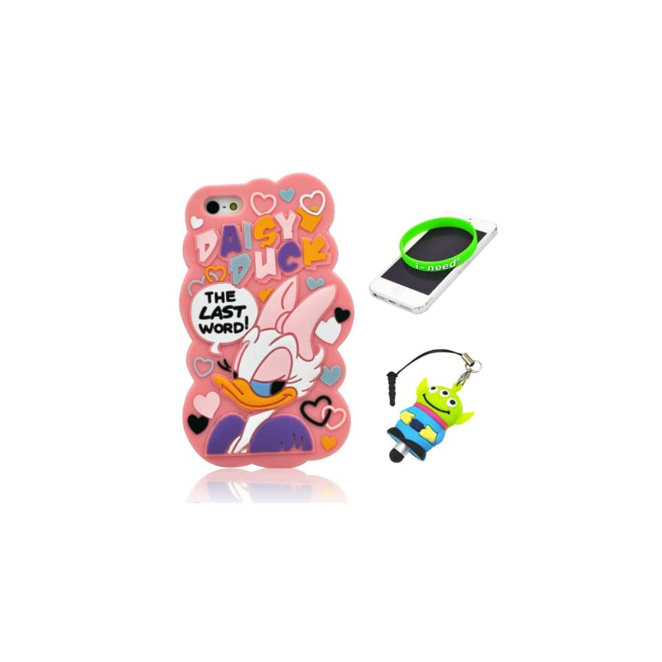I Need(TM) Cute Fall in Love Cartoon Daisy Duck Pattern Pink Soft Silicone Cover Case Compatible For Apple Iphone 5+3D Alien Stylus Pen+I need® Wristband Gift(Retail Package)