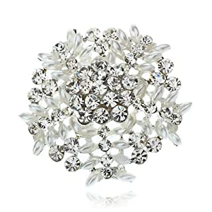 Arinna Vogue Clear Round Rhinestone Fashion Brooch Pin 18K White Gp Swarovski Crystal