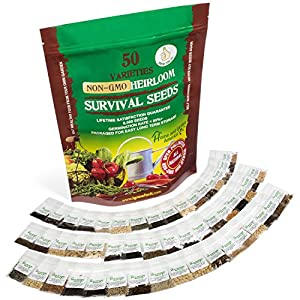 Heirloom Vegetable Seeds Bulk Pack - Emergency Supplies Non GMO Seed Bank - Best For Planting Sprouting and Gardening Non GMO Non Hybrid Food - 50 Varieties - 9,500+ Seeds - Freezer Safe for Decades