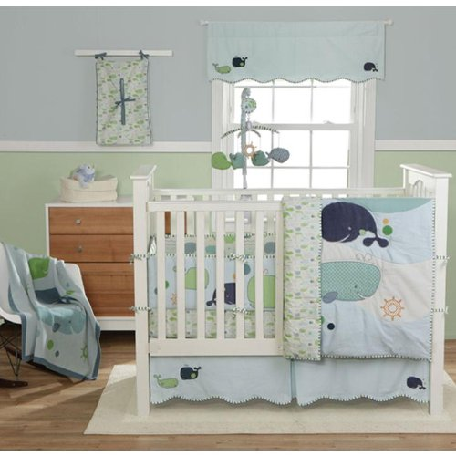 Migi Little Whale 4 Piece Crib Bedding Set by Bananafish