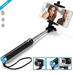 ZAAP NUSTAR2 Bluetooth Super-Extendable Premium Stainless steel Selfie Stick with In-built Remote Shutter | 2000+ clicks per charge | For iPhone, Andriod, Gopro & other Smartphones
