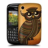 Head Case On Orange Tribal Owls Hard Back Case For BlackBerry Curve 8520 9300 3G