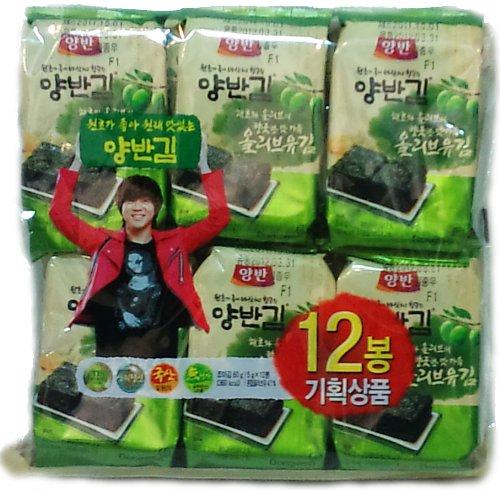 Dongwon Korean Olive Oil Flavored Seasoned Seaweed (Laver) Snack 0.17-Ounce Bags (Pack Of 48)