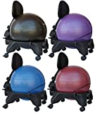 """Isokinetics Inc. Brand Adjustable Back Exercise Ball Chair - Black 52cm Ball - Exclusive: Office size 60mm/2.5"""" wheels (versus 50mm/2"""" wheels used on other brands) - w/Starter Pump and Ball Measuring Tape"""