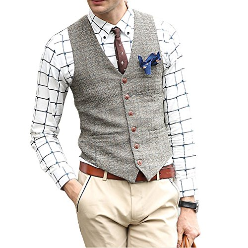 Zicac Mens New Top Designed Casual Skinny Dress Wedding Vest Waistcoat (M/Asia Tag XXL, Beige)