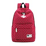 Amtopseller girl's women's vintage cute polka dot backpack school book college campus casual bag (red)