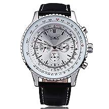 WINNER Men Dress Business Automatic Mechanical Wrist Watch Leather Strap Multifunction Tachometer Sub Dials