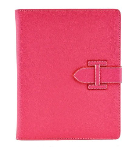 Easygoby Luxury Flip Stand Cover With Auto Wake/Sleep, Elastic Hand Strap & Card Slot Protective Case For The Apple Ipad 2/Ipad 3/Ipad 4 ,Hot Pink