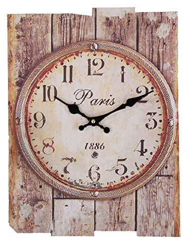 JustNile Vintage Rectangular Wall Clock - Faded Round Dial Paris 1886