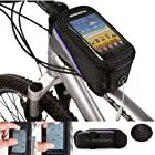 Aokdis Cycling Bike Bicycle Frame Front Tube Bag Phone Case For iPhone 4/4S 5 (black and blue)