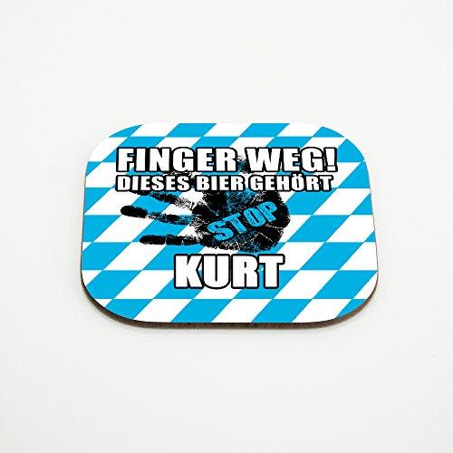 Untersetzer für Gläser mit Namen Kurt und schönem Motiv - Finger weg! Dieses Bier gehört Kurt