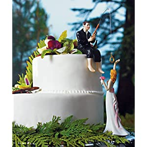 wedding-reception-decoration ideas hooked on love groom figurine and bride reaching for her star figurine
