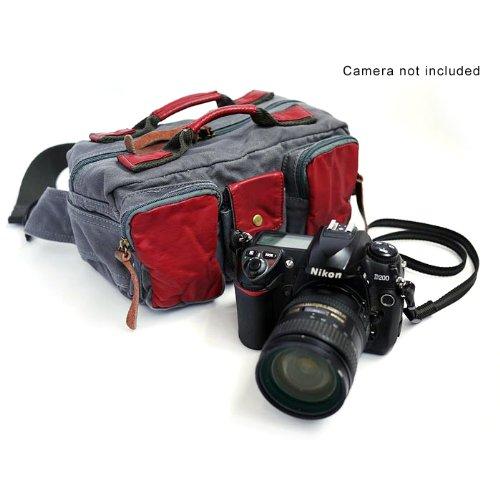 Sony Canon Nikon Olympus Pentax用 キャンバス素材カジュアルカメラバッグ ウエストバッグ 一眼レフカメラバッグ 280*140*140mm  ダークグレー