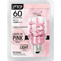 TCP 68914P CFL Spring Lamp - 60 Watt Equivalent (only 14W used!) (PINK) Colored Spiral Light Bulb