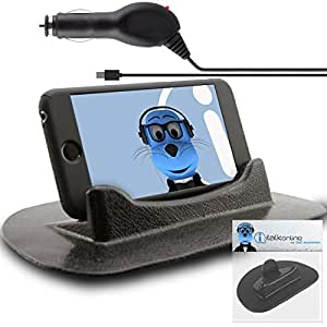 HTC Desire X Black Sticky (NO GLUE) Mat Anti-Slip In Car Dashboard Desk Table Vertical / Horizontal Holder with 1000 mAh Micro USB In Car Charger
