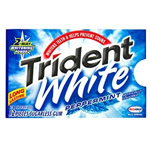 Trident White Gum, Peppermint, 12-Piece Packages (Pack of 12)