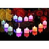 Lot de 12 bougies à piles, sans flammes, à LED qui change de couleur