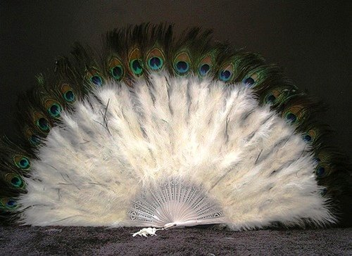 Marabou Feather Fan w/ Peacock - WHITE 24
