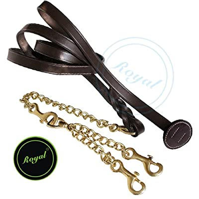 Royal Leather Lead with Double Brass Chain./ Vegetable Tanned Leather.