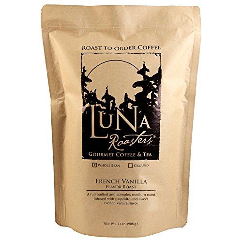 Luna Roasters® French Vanilla, Flavored Whole Bean, Artisan Roast Coffee (2Lbs.) (2 Pack)