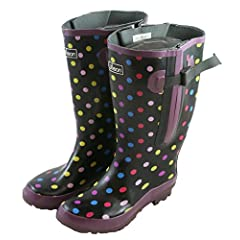 Extra Wide Calf Women's Rubber Rain Boots: Up to 21 Inch Calf - Spotty