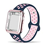 INTENY Compatible for Apple Watch Band 42mm with Case, Soft Silicone Sport Wristband with Apple Watch Screen Protector Compatible for iWatch Apple Watch Series 1,2,3,4, 42mm M/L,Midnightblue Lightpink (Color: Midnightblue Lightpink, Tamaño: 42mm,M/L + 42mm Case)