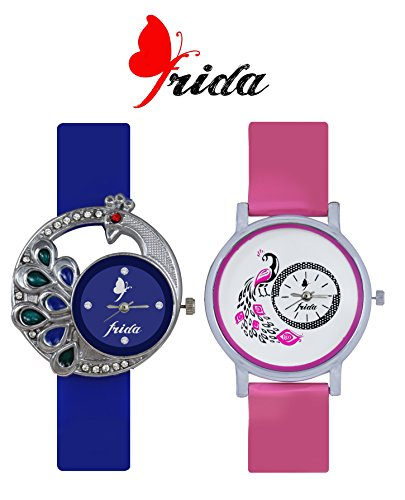 Frida New Latest Beautiful Designer Branded Multi Color PU Belt Analog Awesome Looks Best Offer in Deal Casual Classical Combo Wrist Watch For Girls Womens and Ladies