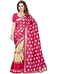 Ishin Bhagalpuri Silk Red Bollwood Half & Half Printed Women's Saree.