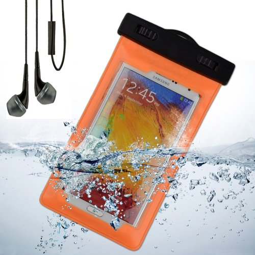 Waterproof Case Dry Bag Pouch With Armband For Samsung Galaxy Note 3 / Samsung Galaxy Note 2 (Orange) + Black Vangoddy Headphone With Mic