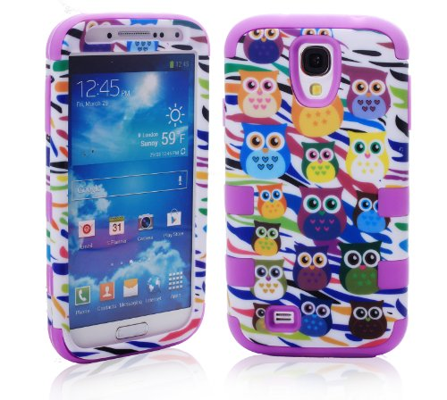 Magicsky Plastic + Silicone Hybrid Owl Zebra Design Hybrid Case For Samsung Galaxy S4 Iv I9500 - 1 Pack - Retail Packaging - Purple