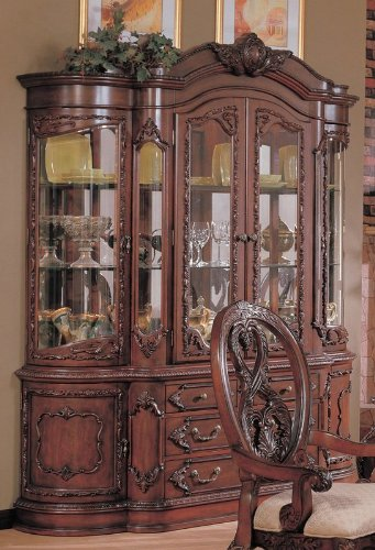 Cheap China Cabinet Buffet Hutch with Carved Detail Cherry Brown Finish (VF_101024)