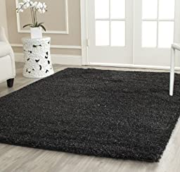 Safavieh California Shag Collection SG151-9090 Black Area Rug, 4 feet by 6 feet (4\' x 6\')