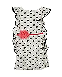 Barbie Baby Girls' Dress (DRSFA161064002_Pearl Off White and Jet Black_18 - 24 Months)