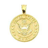 14k Yellow Gold Medal-Style Military Coin Charm US Army Pendant from Claddagh Gold