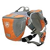 Columbustore Outdoor Adjustable Dog Saddle Bag Large Capacity Dog Backpack with Reflective Stripe (Orange, Medium)