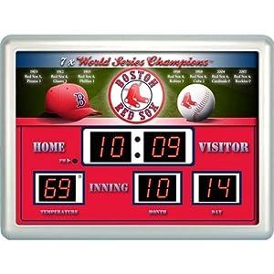 Boston Red Sox MLB 14x19 Scoreboard Clock Thermometer