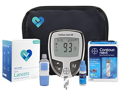 Bayer Contour NEXT Complete Diabetic Blood Glucose Testing Kit, EZ Meter, 50 Test Strips, 50 Lancets, Adjustable Lancing Device, Control Solution, Owners Log Book & Manual