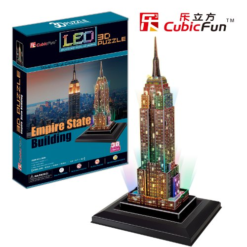 Free Shipping!Diy 3D Puzzle Paper Model Leaning Tower With Led Light 13Pcs Home/Office Decoration