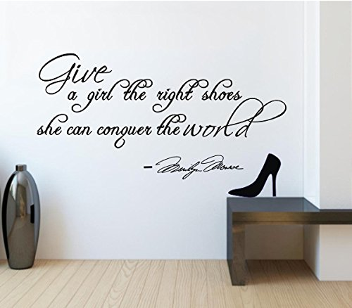 """Marilyn Monroe Quote Wall Saying """"Give A Girl The Right Shoes And She Can Conquer The World"""" Girl'S Quote Decor Words Vinyl Letters Life Inspirational Quote For Girls Wall Sign front-745691"""