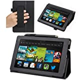Evecase SlimBook Leather HandStrap Folio Stand Case Cover for All New Kindle Fire HD 7 - 7' 2013 2nd Generation Tablet - Black