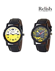 Relish Black Analog Round Casual Wear Watches For Men - B016AAF86E