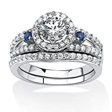 buy White Cubic Zirconia And Sapphire Accent Platinum Over .925 Silver 2-Piece Halo Bridal Set
