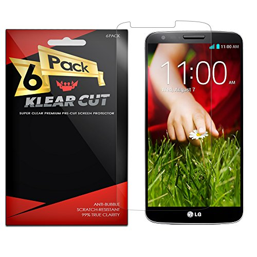 Klear Cut [6 Pack] - Screen Protector for LG G2 (AT&T, Verizon, Sprint, T-Mobile) - Lifetime Replacement Warranty Anti-Bubble & Anti-Fingerprint High Definition (HD) Clear Premium PET Cover - Retail Packaging (Lg G2 Sprint Screen Replacement compare prices)