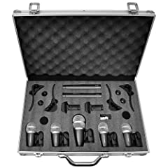 Pyle-Pro PDKM7 7 Microphone Wired Drum Kit with Mounting Accesories by PylePro