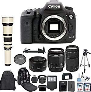 Canon EOS 7D Mark II 20.2MP CMOS Digital SLR Camera with Canon EF-S 18-55mm IS Lens + Canon 75-300mm Zoom Lens + Canon EF 50mm f/1.8 II Lens + 650-1300mm Zoom Lens + 2 pc Commander 32GB Memory Cards